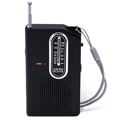 Portable AM/FM Radio, Transistor Radio, Battery Powered Pocket Radio with Built-in Speaker and Headphone Jack for Walking Hiking Camping