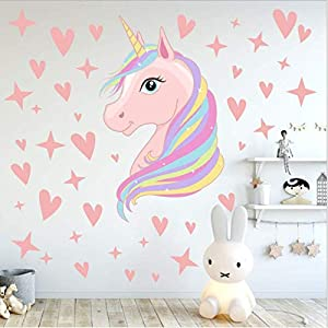 AIYANG Unicorn Wall Decals Stars Love Hearts Wall Stickers for Baby Girls Bedroom Playroom Decoration (Blue)