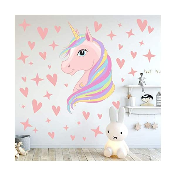 AIYANG Unicorn Wall Decals Stars Love Hearts Wall Stickers for Baby Girls Bedroom Playroom Decoration 3