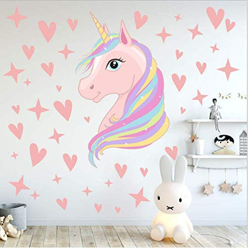 AIYANG Unicorn Wall Decals Stars Love Hearts Wall Stickers for Baby Girls Bedroom Playroom Decoration (Pink)