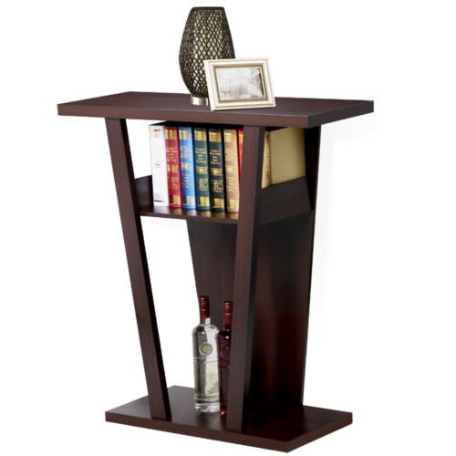 Metal Wine Console (Console Accent Sofa Side Table Shelf Wood Entry Way Hallway Living Room Espresso)