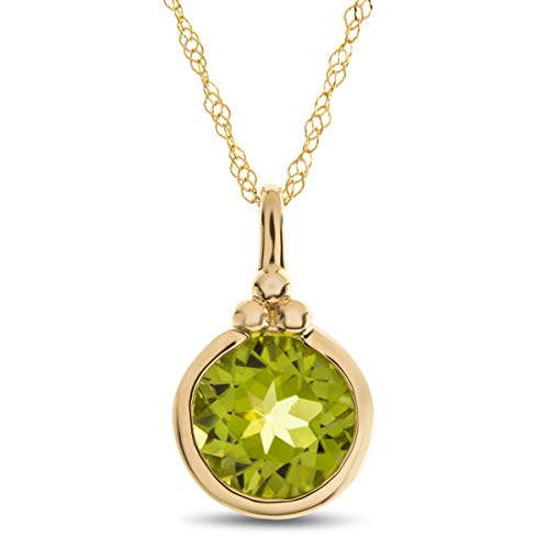Finejewelers 8mm Round Bezel Set Peridot Pendant Necklace Chain Included 10 kt Yellow Gold