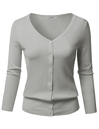 Solid Button Down V-Neck 3/4 Sleeves Knit Cardigan Gray Size S