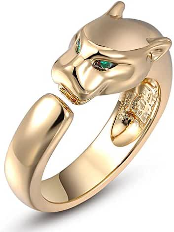 G&S 18k Platinum / Rose Gold / Gold Plated Green-eyed Leopard Summer Ring for Women Girls Unisex Adult