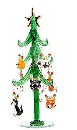 Glass Christmas Tree with Cat Wine Charm Ornaments-9'' by LSArts