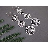 Silver filigree earrings, Bohemian earrings, Long Silver Earrings, Dangle earrings, Boho jewelry, Israel jewelry, Gift for woman