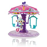 WowWee Fingerlings Playset: Twirl-A-Whirl Carousel with 1 Fingerlings Baby Monkey - Abigail (Light Blue with Pink Glitter)