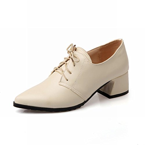 Hakken Casual Dames Sweet Lace-up Punt-teen Mode Dikke Mid-heel Oxfords Schoenen Beige