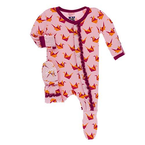 Kickee Pants Little Girls Print Muffin Ruffle Footie Snaps - Lotus Origami Crane, 0-3 Months ()