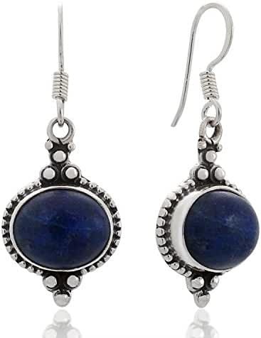 925 Sterling Silver Natural Gemstone Indian Inspired Vintage Oval Dangle Hook Earrings 1.5