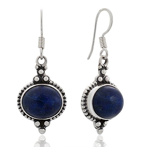 - 925 Sterling Silver Lapis Lazuli Gemstone Indian Inspired Vintage Oval Dangle Hook Earrings 1.5