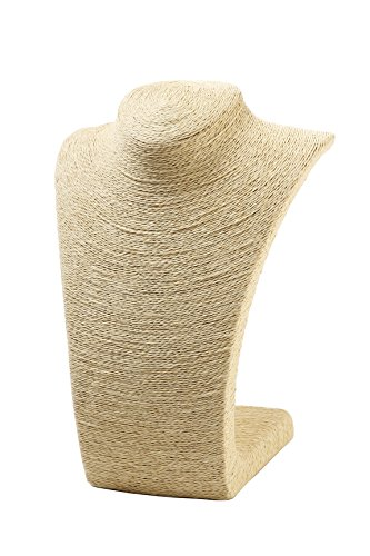 Beige Burlap Necklace Stand - Display Bust for Statement Necklaces, Single Strand Pendants, Choker Necklaces - 11