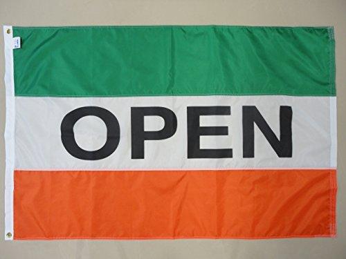 """Nylon Horizontal Message Flag, 3' x 5', """"Open"""", Green, White"""