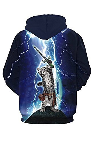 Price comparison product image HanSmboy Unisex Fashion 3d Digital Print Pullover Hoodies Sweatshirt Jacket Hero Cat XL