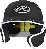 Rawlings MACHEXTR-B7/W7-JR 2019 Mach Baseball Batting Helmet, Black/White