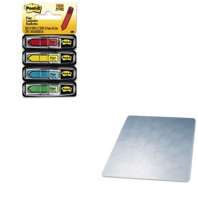 KITDEFCM14443FMMM684SH - Value Kit - Deflect-o SuperMat Studded Beveled Mat for Medium Pile Carpet (DEFCM14443F) and Post-it Arrow Message 1/2quot; Flags (MMM684SH) Supermat Studded Beveled Mat