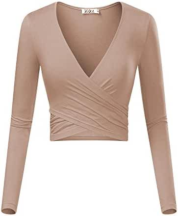 KIRA Women's Deep V Neck Long Sleeve Unique Cross Wrap Slim Fit Crop Tops
