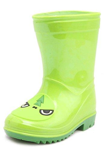 Aisun Mädchen Unisex Kinder Cartoon Halbschaft Wasserdicht Gummistiefel Regenstiefel Grün