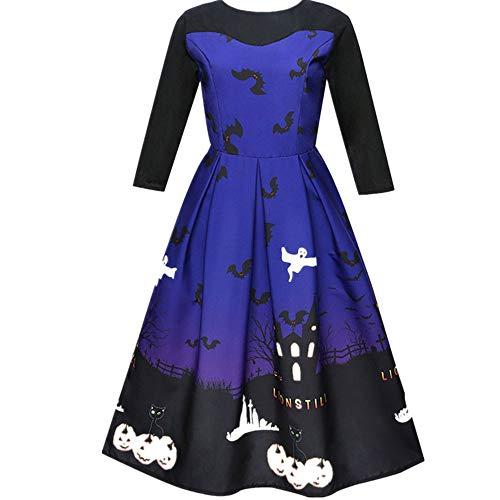 Halloween Costumes For Women, Pervobs Women Pumpkin castle Printing 3/4 Sleeve Party Swing Dress Halloween Costumes(4, Blue 2)