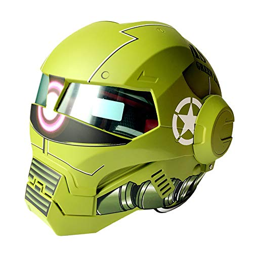 DYM258 Adult Motorcycle Helmet Full Face Locomotive Helmet/Full Face Flip Front Up/D.O.T Certified Iron Man Transformers Road Race Light Green (M, L, XL, XXL),L