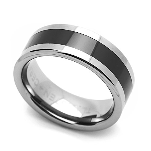 (Double Accent 8MM Comfort Fit Tungsten Carbide Wedding Band Black Stripe Center Flat Ring (9 to 14), 14)