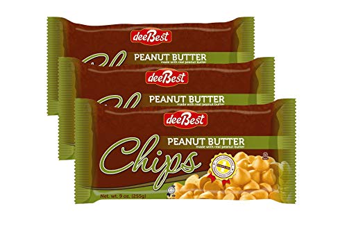 (Dee Best Peanut Butter Chocolate Flavored Chips | With Real Peanut Butter | Non-dairy 9oz (Pack of 3) Kosher )
