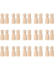 Wooden Peg Doll, 30 Pcs Wooden Men and Women Peg Dolls for Children's Art Creative DIY Wooden People for Kids Painting (35mm)