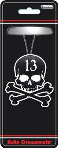 Black and White Lucky 13 Skull & Crossbones Rear View Mirror Auto Ornament