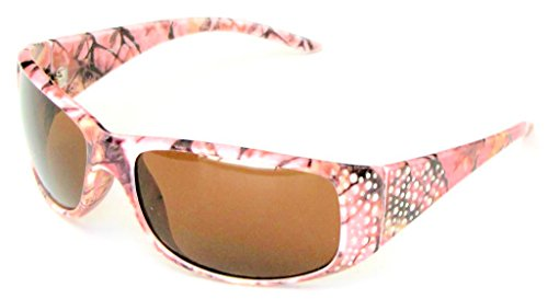 VertX Women's Pink Camouflage Sunglasses Designer Fashion Eyewear Hunting Fishing Outdoor – Pink Camo Frame – Amber - Pink Glasses Camo Frames