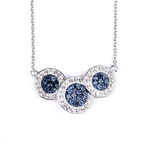 blackbox Jewelry Sterling Silver Three White & Montana Blue Crystal Simulated Diamond Circle Pendant 18