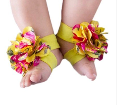 P&o 1 pair 0-12M Baby Barefoot Shoes Flowers Feet Ring Infant Sandals Decoration ()