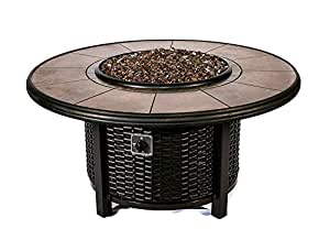 "Dreffco 48"" Round Wicker Fire Pit Table with Tile Inlaid Top, Complete with Copper Fire Glass!"