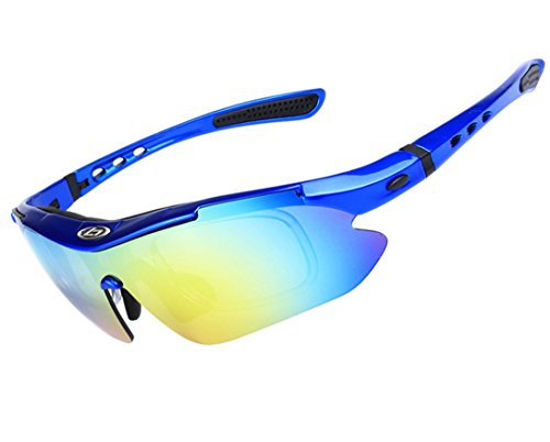 Wonzone Polarized UV Protection Sunglasses for Men Women Sports Glasses Cool Goggles with 5 Interchangeable Lens for Bicycling, Fishing, Golf, Driving, Skiing and All Outdoor Activities (Dark - Bicycling Glasses