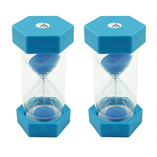 Dsmile Sand Timer Blue 5 Minutes Plastic Hourglass Timer Sandglass Timer Sand Clock for Kids Games Classroom Kitchen Home Office Decoration (2 Pcs)