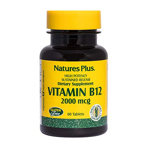 Natures Plus Vitamin B12 (Methylcobalamin) - 2000 mcg, 60 Vegetarian Tablets, Sustained Release - High Potency Supplement, Energy Booster, Memory Enhancer - Gluten Free - 60 Servings