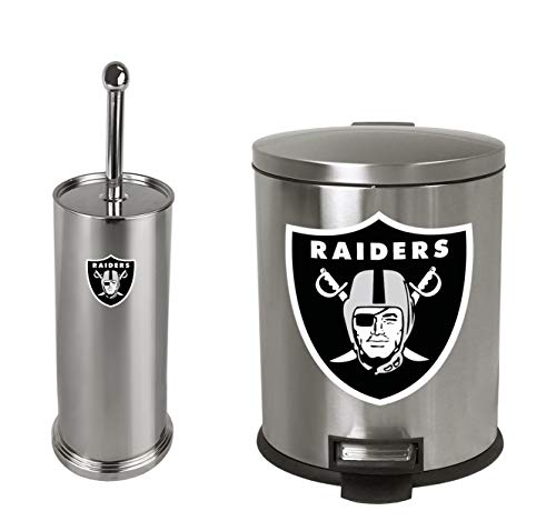 The Furniture Cove 2-Pc Set - 1.3 Gallon Stainless Steel Step Trash Can Waste Basket and Toilet Brush with Holder Featuring the Choice of Your Favorite Football Team Logo (Raiders)