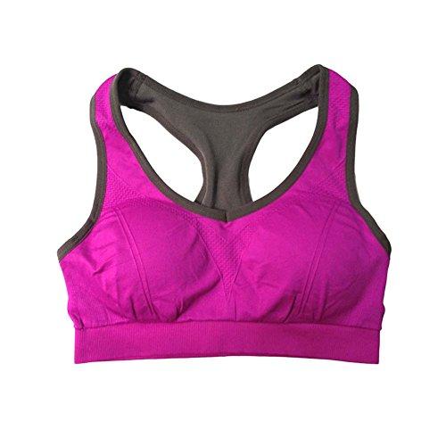 Ancdream Sujetador Deportivo sin Costura para Mujer (Estilo Racerback). Para Yoga, Estiramiento, Running Morado & Negro