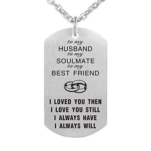To My Love Wife Husband Soulmate BestFriend Dog Tag Necklace Stainless Steel Military Dogtags Necklaces (to Husband)