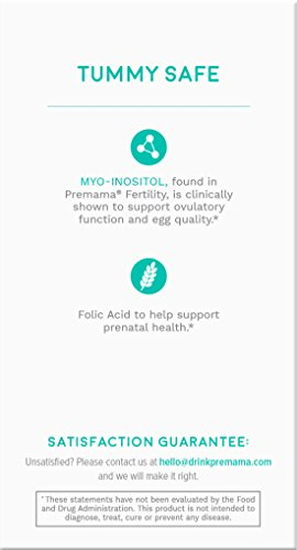 PREMAMA Fertility Supplement Drink Mix Enriched with Myo Inositol and Folic Acid to Support Your Healthy Natural Ovulation and Help Improve Your Egg Quality