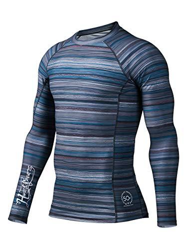 HUGE SPORTS Men's Splice UV Sun Protection UPF 50+ Skins Rash Guard Long Sleeves (Flower Screen, 2XL)