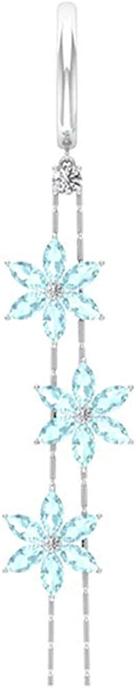 Aretes de flor de topacio azul de 2,52 ct, certificado SGL, pendientes colgantes de diamante IJ-SI, pendientes de aro de boda, con forma de marquesa, con clip.