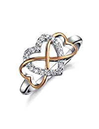 Bling Jewelry 925 Silver Infinity Cubic Zirconia Heart Ring Rose Gold Plated