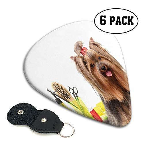 Guitar Picks 6 pcs,Yorkshire Terrier With Stylish Hairdressing Equipment Mirror Scissors