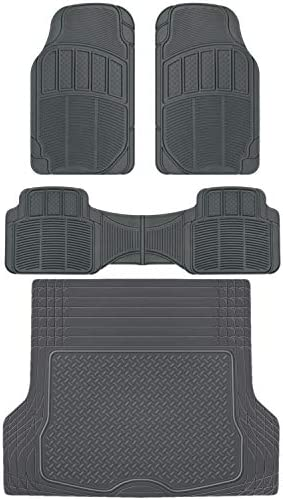 BDK CarXS Proliners Classic Rubber Car Floor Mats – 4pc Front & Rear +Trunk Cargo Liner Heavy Duty Trimmable Diamond Grid for Car Truck SUV Van (Gray)