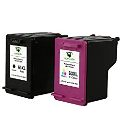 Supricolor Remanufactured HP 63XL HP 63 Ink Cartridge High Yield (1 Black 1 Tri-color), with Ink Level Display for HP Envy 4520 4516 Officejet 4650 3830 3831 4655 Deskjet 2130 1112 3630 3633 3634 3636