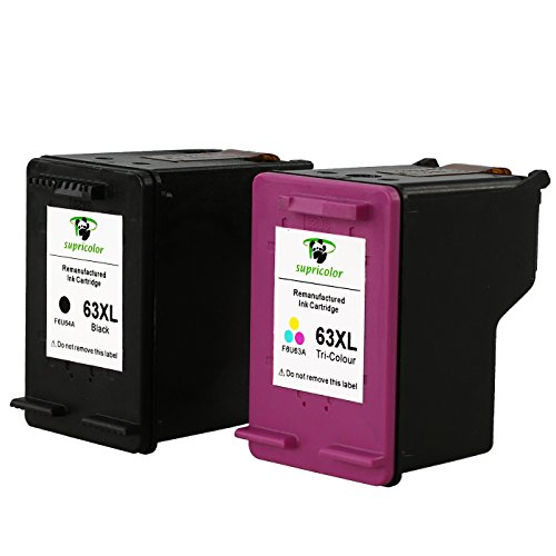 Supricolor Remanufactured 63XL 63 Ink Cartridge High Yield (1 Black 1 Tri-color), with Ink Level Display for Envy 4520 4516 Officejet 4650 3830 3831 4655 Deskjet 2130 1112 3630 3633 3634 3636