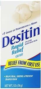 Desitin Rapid Relief Creamy Zinc Oxide Diaper Rash Cream 2 oz(Pack of 2)