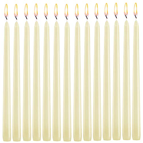 XYUT Elegant Taper Candles 10 Inches Tall Premium Quality Candles Set of 14 (Ivory)