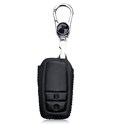 Leather Smart 2 Buttons Car Key Case Holder Stainless Steel Cover for Toyota (Black) from Bestowal