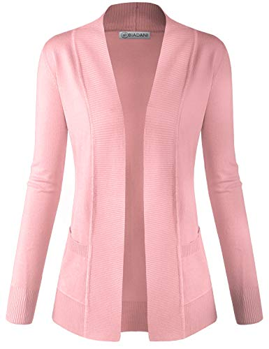 BIADANI Women Classic Soft Long Sleeve Open Front Cardigan Sweater Baby Pink Large